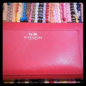 NWOB Coach Red Zip Around Leather Wallet